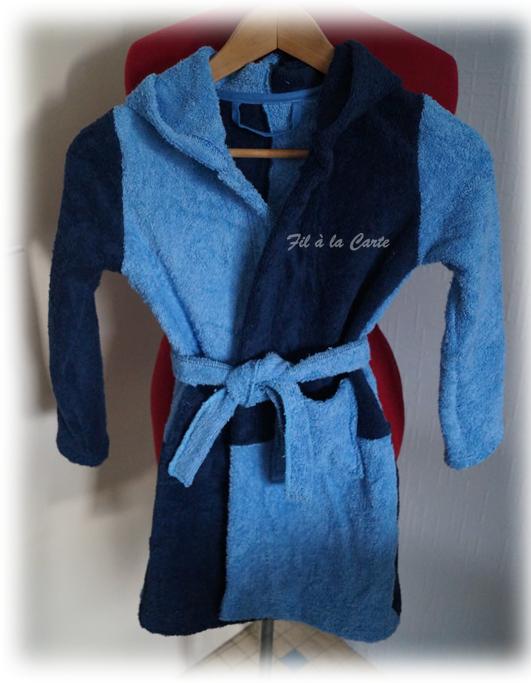 Peignoir bain bleu 6a