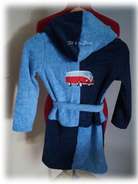 Peignoir bain bleu 6a3