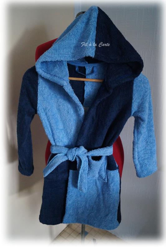 Peignoir bain bleu 6a5